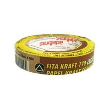 Fita Adesiva Marrom Papel Corrugado Kraft 770 Adesivo Borracha p/ Embalagem Uso Geral 25 mm x 50 m